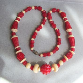 Vintage 1930's Carved Cherry Red & Ivory Genuine Bakelite Bead Art Deco Necklace