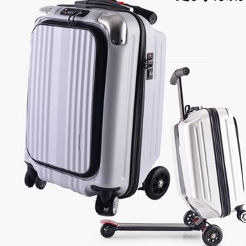 Hard-side Spinner Carry-On Luggage transforming into Scooter