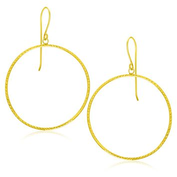 14K Yellow Gold Circle Earrings with Diamond Cut Texture