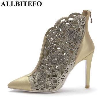 ALLBITEFO 2017 new summer brand fashion boots Genuine Leather Rhinestone cut-outs women party shoes high heels night club shoes
