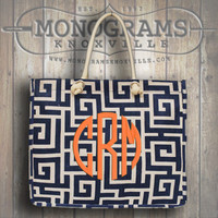 Monogrammed Navy Greek Key Print Large Jute Tote  Font shown NATURAL CIRCLE in coral