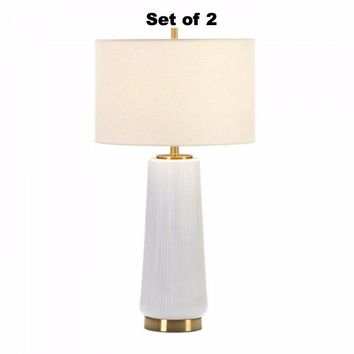 Set of 2 Contemporary White Table Lamps