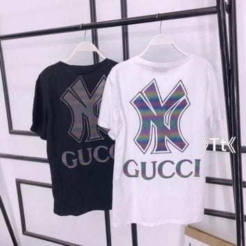 """""""Gucci"""" Lover Unisex Casual Wild Fashion Letter Print Round Neck Short Sleeve T-shirt Tops"""