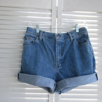 Lee High Waisted Denim Shorts Cut Off Jean Shorts Hipster Vintage Lee Cutoffs High Waist Shorts Grunge Clothing Womens 10