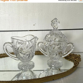 CLEARANCE Crystal Sugar and Creamer, 15th Anniversary, Vintage Crystal Footed Sugar Creamer Set, Wedding Gift, Vintage Tea Party, Lidded Sug
