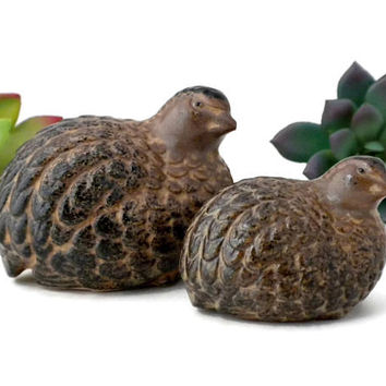Small Quail Bird Figurines Mother and Baby Made In Japan - 2 - 3 inches, Quail Figurines, Bird Figurines, Mother and Child, Vintage Birds
