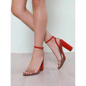 DCCK8JO Bead Trim Clear Band Faux Suede Chunky Heel RED