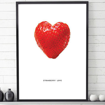 Strawberry print, strawberry wall art, love art print, wall art printable, love wall art, contemporary print, printable art, modern wall art