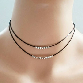 Silver choker necklace,leather choker,beads choker,beaded choker,two strand necklace,double strand choker,layered necklace,double choker