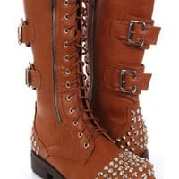 Chestnut Faux Leather Studded Combat Riding Boots @ Amiclubwear Boots Catalog:women's winter boots,leather thigh high boots,black platform knee high boots,over the knee boots,Go Go boots,cowgirl boots,gladiator boots,womens dress boots,skirt boots,pink bo
