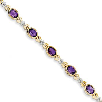 0.08 Ct  14k Yellow Gold Amethyst & Diamond Bracelet