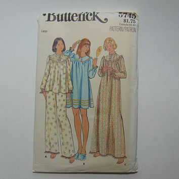 Butterick 5745 Sewing Pattern Misses Pajama and Nightgown Size Large 16-18 UNCUT