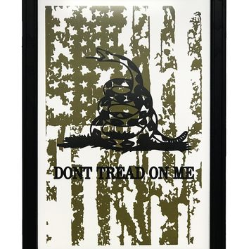 """Don't Tread On Me with Distressed American Flag Art Print Green - 13x19"""""""