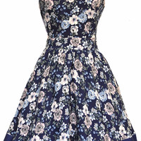 Navy with Pink Floral Tea Dress