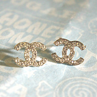 silver cc logo earrings