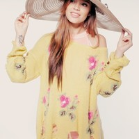 LITTLE EDIE LENNON SWEATER at Wildfox Couture in  GRNYP, BUTTER