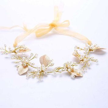 CREYCI7 Handmade Women Gold Luxury Pearl Crystal Bridal Ribbon Headbands Leaf Headpieces Rhinestone Wedding Party Hair Jewelry S