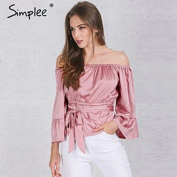 Simplee Apparel sexy off shoulder ruffle bow blouse shirt Soft satin flare sleeve summer tops Elegant party women blouses blusas