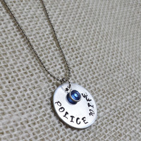 Police Wife Necklace, Personalized Hand Stamped Silver Police Officer Necklace