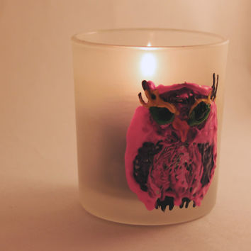 Grumpy owl candle holder, cute owl, pink and purple, hand painted, tea light holder, frosted glass candle holder