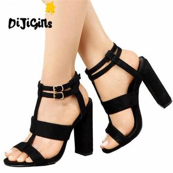 Summer Women's sandals Square Heel 10CM Navy Female High Heels Women's Shoes Sandals Ankle Strap Heels Large Size 41 42