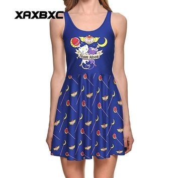 Women's 3D Cat Print Reversible Sleeveless Knee Length Pleated Dress Size S-4XL 8 Designs