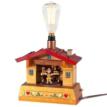 Vintage Wood Child's Toy Up-cycled Lamp with New Filament Lightbulb