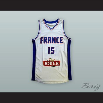 Mickael Gelabale 15 France National Team White Basketball Jersey