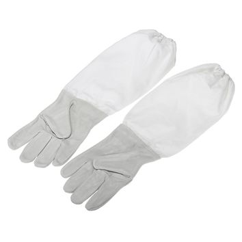 Safurance 2 Pair Protective Vented Long Sleeves Sheepskin Bee Keeping Beekeeping Gloves Workplace Safety