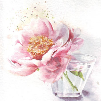HM056 Original watercolor still life flower painting by Helga McLeod