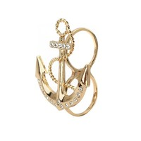 Golden Crystal Double Finger Anchor Ring @ Inspired Silver