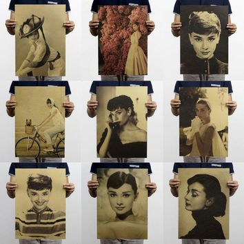 Audrey Hepburn Set/Movie star/Nostalgic photo/kraft paper/bar poster/Retro Poster/decorative painting 51x35.5cm Free shipping