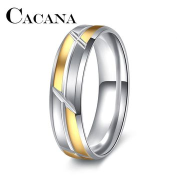 CACANA Punk Rock Style Gold silver Ring Mens Fashion Chunky Finger Bling Hip Hop Ring Size 7/8/9/10/11 Retro Titanium Steel