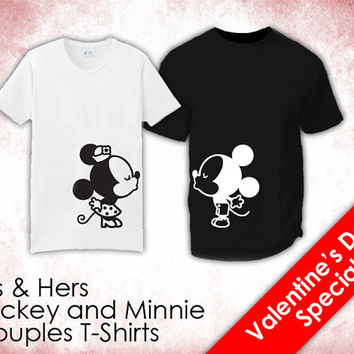 "His & Hers T-Shirts - ""Mickey and Minnie Kissing"""