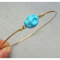 Blue Turquoise Skull Bangle Bracelet