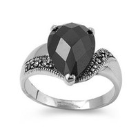High Fashion Sterling Silver Upside Down Tear Design Marcasite Ring with Black CZ