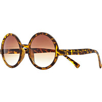 Brown tortoise shell round sunglasses - retro sunglasses - sunglasses - women