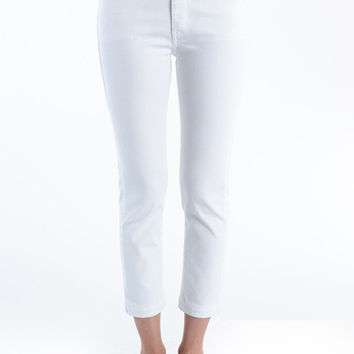 High Rise Slim Straight Leg Jeans - White
