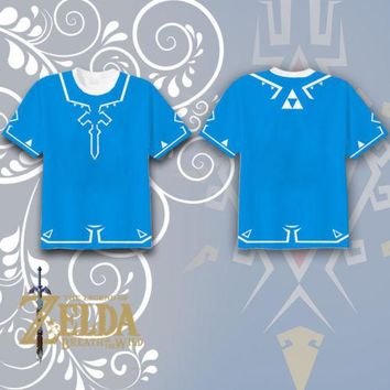 The Legend of Zelda T-shirt Link Blue T-shirt Full Printed Tee Tops Short Sleeve Summer Cosplay Costume Unisex Fashion T Shirt