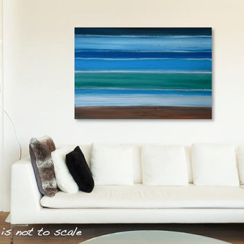 Large Original Rustic Ocean Beach Painting - Modern Contemporary Stripes Wall Art Decor - Green, Blue, Brown - 36 x 24 Canvas - FREE SHIP