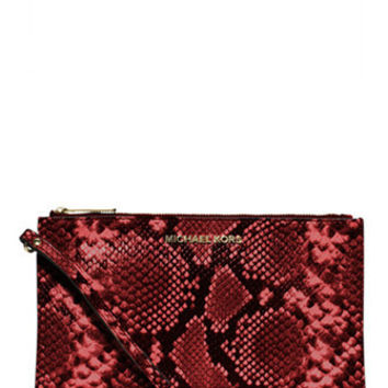 Michael Michael Kors Python Embossed Bedford Large Zip Clutch