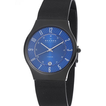 Skagen 233XLTMNC Men's Denmark Black Titanium Blue Dial Quartz Watch