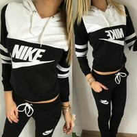 NIKE Women Pantsuit splicing letter printing hooded fashion suit pullover Two piece