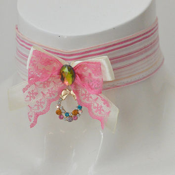 Sweet basket - colorful kawaii cute neko lolita kitten pet play ddlg collar with pendant - pink ivory and white
