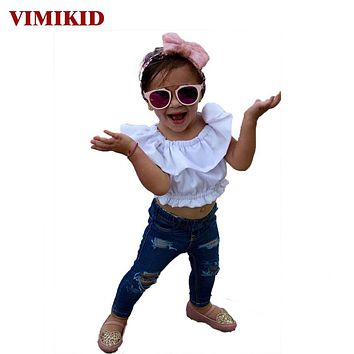New girls clothing sets Toddler Baby Kids Girl Off Shoulder T-Shirt Top + Ripped Jeans Pants Outfits Set