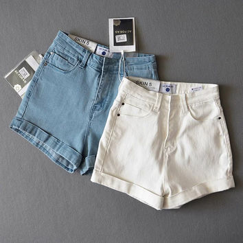 Summer Stretch High Waist Denim Slim Shorts [8173455879]