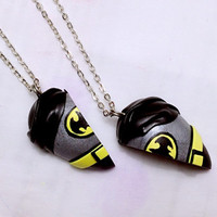 Batman Heart Pandent Necklace / BFF Necklace Set / Friendship Keychain / Brooch / Magnet / Made to order