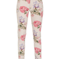 DENIM & SUPPLY by Ralph Lauren  Saba Floral Beige Skinny Jeans with Flower Print  - Jeans