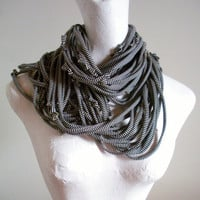 Steampunk Infinity Scarf Black White Stripes Recycled Clothing Versatile Circle Scarf Tribal Gypsy Boho Eternity Winter Scarf Gifts Under 75