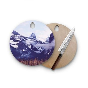 Grassy Snowy Maountain Tops Round Wood Cutting Board Artistic Modern Cheese Board Hostess Gift
